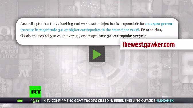 2014 07 12 Max Keiser Report Fracing causes earthquakes Oklahoma report snap