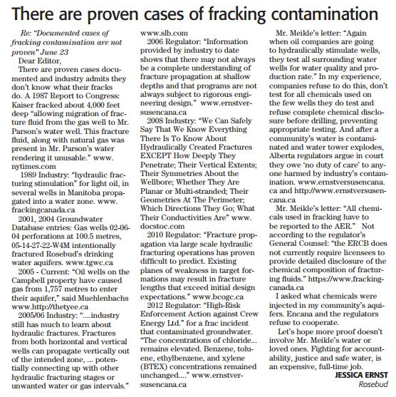 2014 07 15 Letter to Rocky View Weekly Editor by Jessica Ernst There are proven cases of fracing contamination