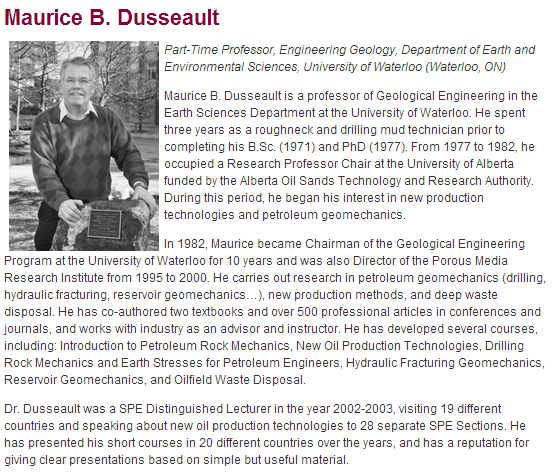 2014 07 17 Snap from Council Canadian Academies Frac Panel website, does not disclose Maurice Dusseault's frac patent filed in 2011