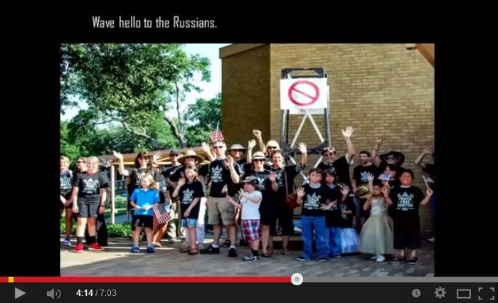 2014 07 23 Denton Texas takes a stand wave hello to the Russians