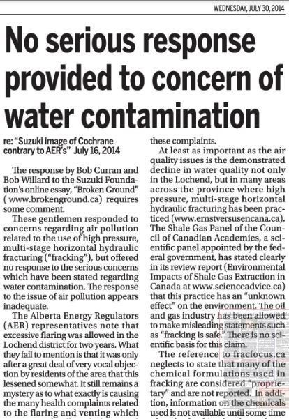 2014 07 30 Nielle Hawkwood No serious response by AER to fracing contaminating groundwater concerns