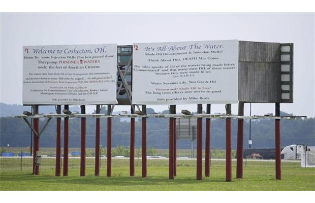 2014 08 21 Billboard opposing frac waste injection wells in Ohio w biblical reference get legal threat