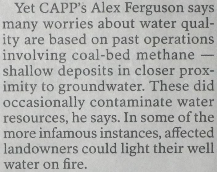 2014 08 28 CAPP's Alex Ferguson admits coalbed methane contaminated well water, in some more infamous cases, landowners could set their water on fire