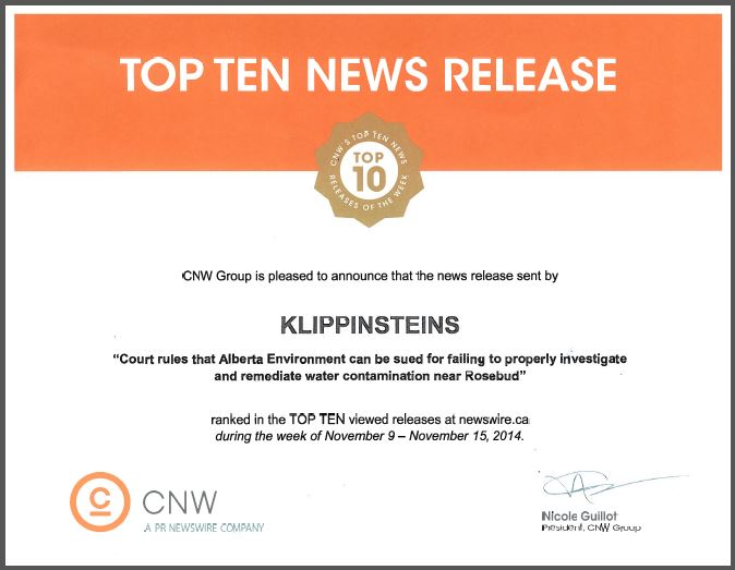 2014 12 04 Klippensteins Top 10 CNW News release for Ernst vs Alberta Environment, snap