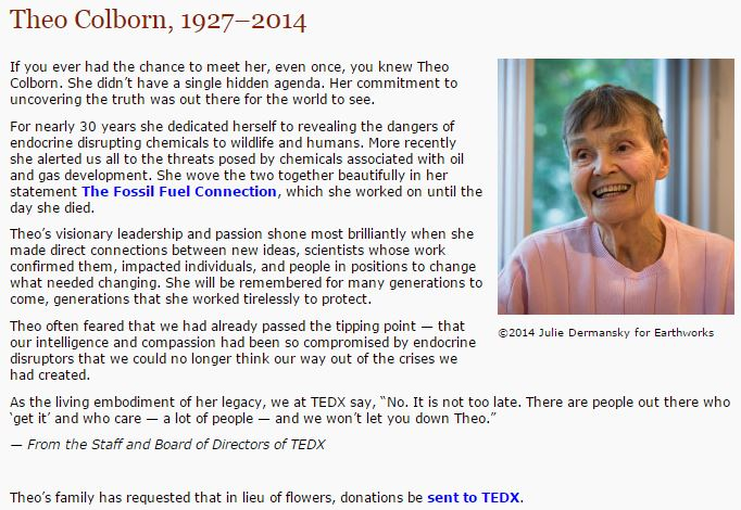 2014 12 14 Theo Colborn 1927 - 2014