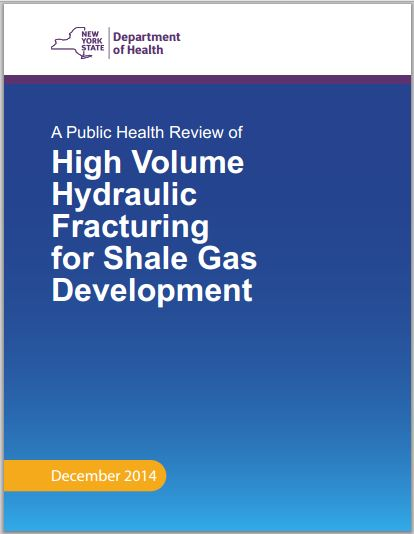 2014 12 17 New York Dept Health, Review on risks and harms caused by high volume hydraulic fracturing