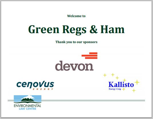 2014 Ab Environmental Law Centre Green Regs & Ham sponsors, devon, cenovus, kallisto