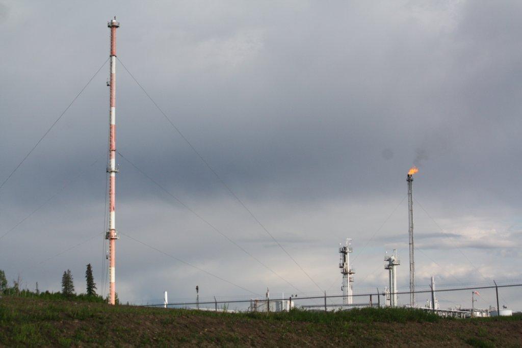 2014 Bonavista South Rosevear Gas Plant, closer up, emissions stacks w black smoke, 16-11-54-15 W5M, near Edson, Alberta, 'poisonous gas'