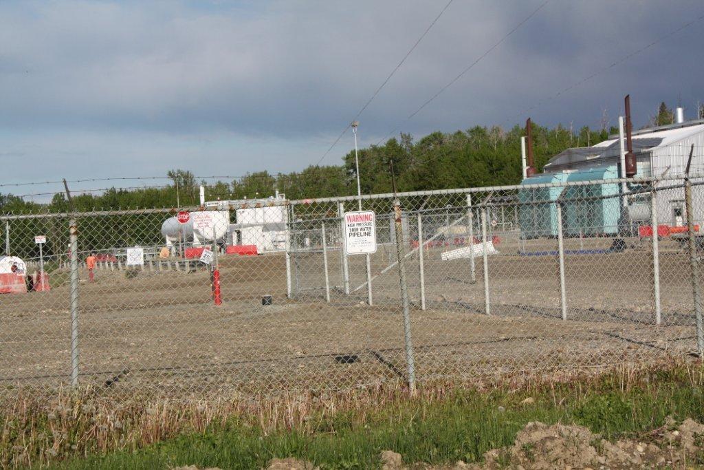 2014 Bonavista South Rosevear Gas Plant. warning sign, high pressure sour water pipeline, 16-11-54-15 W5M, near Edson, Alberta