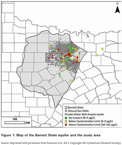 2014 in Global Water map of area studied within 5 kilometres Barnett Shale natural gas extraction site private wws contaminated w arsenic