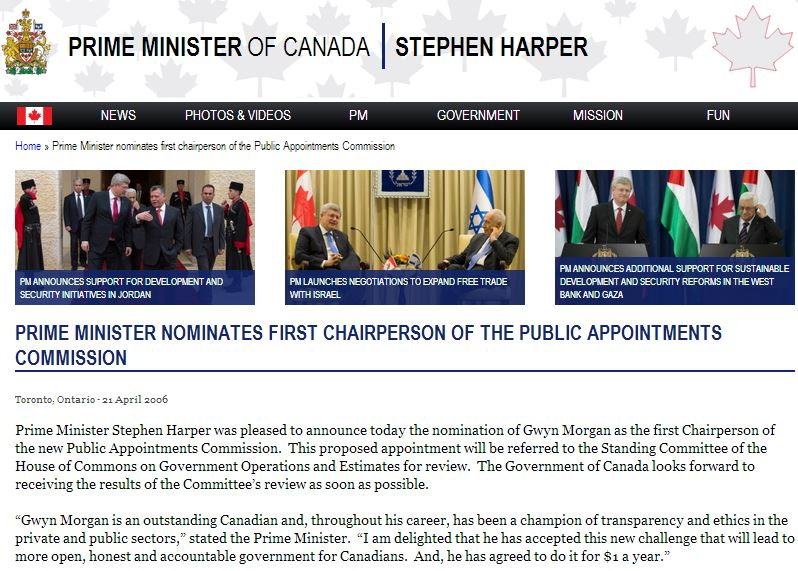 2006 04 21 Prime Minister Harper nominates first chair of the Public Appointments Commission