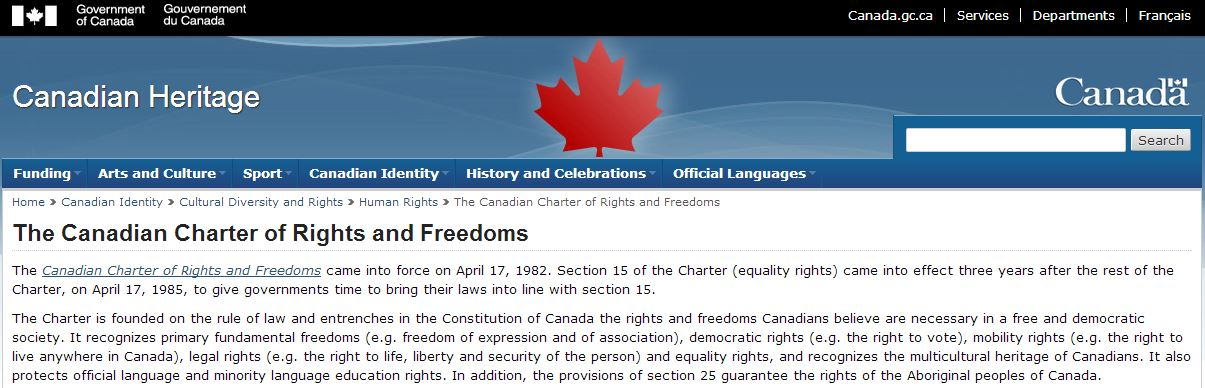 2013 01 30 Screen Capture govt of Canada on The Canadian Charter of Rights and Freedoms