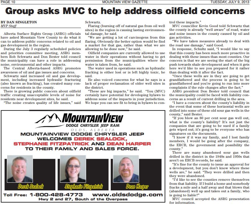 2013 07 09 Alberta Surface Rights Group asks Mountain View County to help address frac concerns