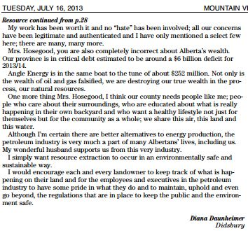 2013 07 16 Resource extraction should be safe Letter by Diana Daunheimer pt 2