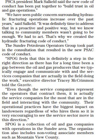2013 11 12 New fracking best practices get mixed reviews middle section about SPOG