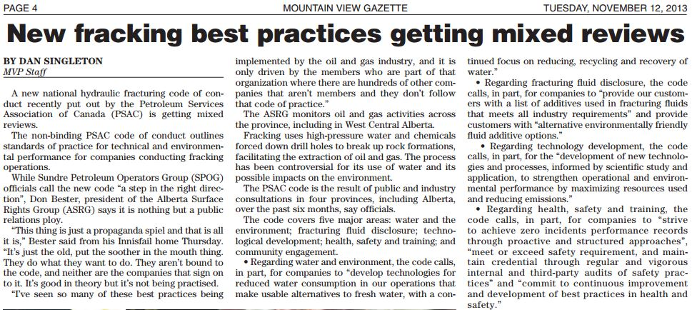 2013 11 12 New fracking best practices get mixed reviews