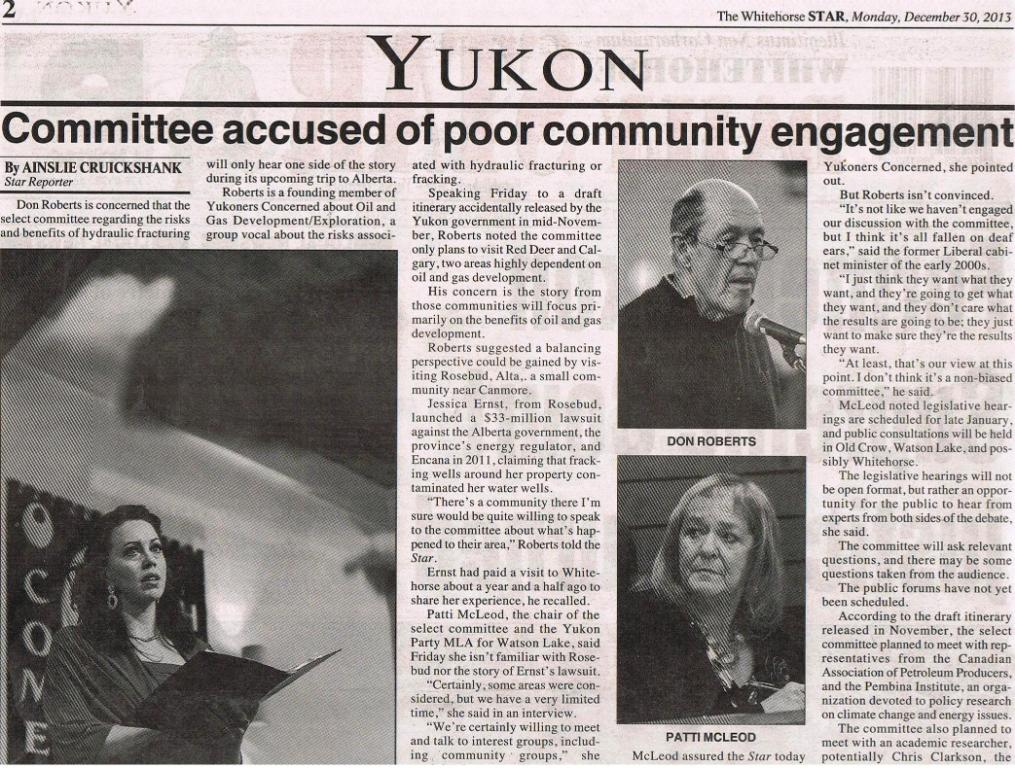 2013 12 30 Yukon Frac Committee accused of biased consultations 1