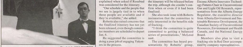 2013 12 30 Yukon Frac Committee accused of biased consultations 2