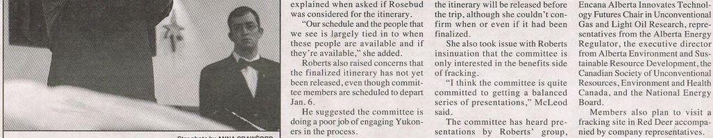 2013 12 30 Yukon Frac Committee accused of biased consultations 2