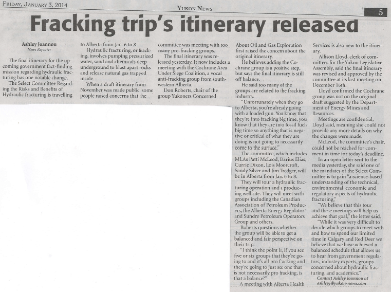 2014 01 03 Fracking trip's itinerary released Yukon News