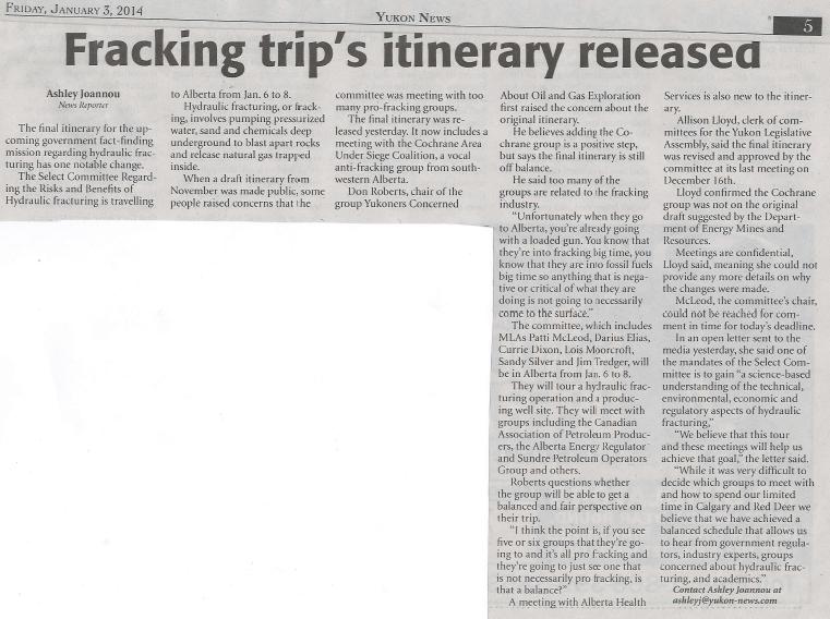 2014 01 03 Fracking trip's itinerary released Yukon News