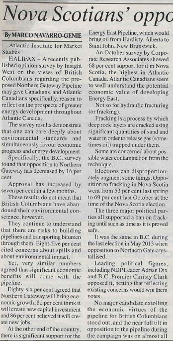 2014 01 07 Opposition to Fracking is Groundless Whitehorse Star Nunmerous lies by Troy Media pg 1