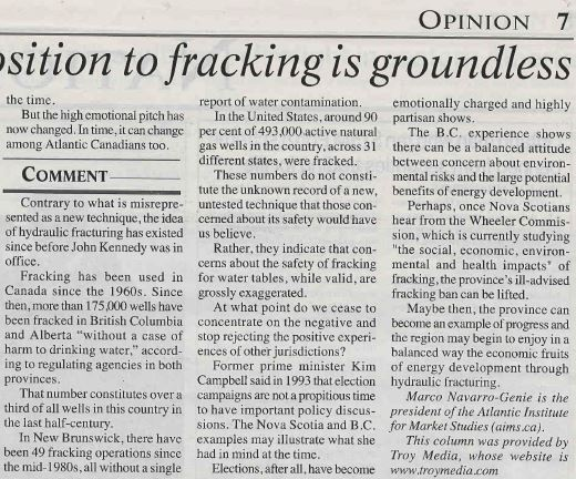 2014 01 07 Opposition to Fracking is Groundless Whitehorse Star Nunmerous lies by Troy Media pg 2