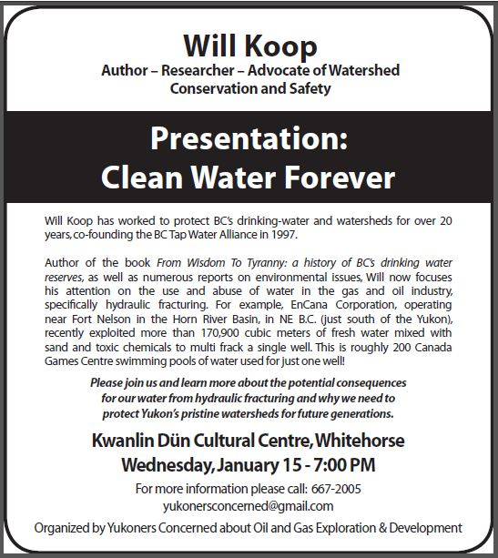 2014 01 08 Ad in Whitehorse Star Will Koop Speaking in Yukon next week