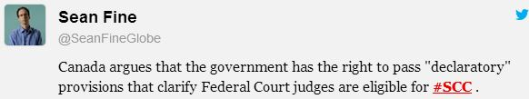 2014 01 15 Harper govt arguing it has the right to pass declararoty provisisions to clarify Fed Court Judges qualify