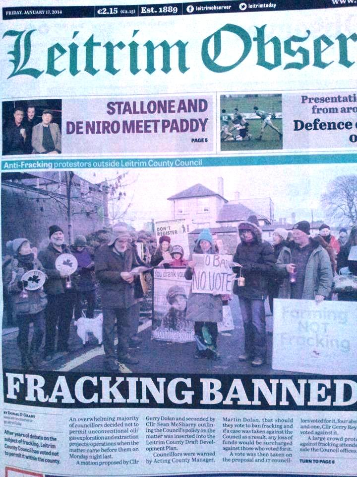 2014 01 17 Fracking Banned in County Leitrim