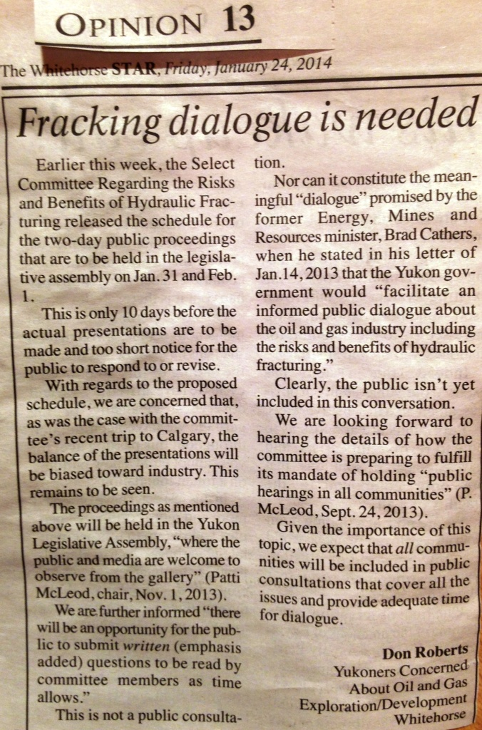 2014 01 24 Fracking dialogue is needed by Don Roberts in Whitehorse Star