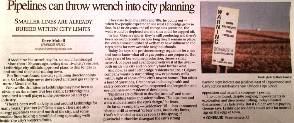 2014 01 25 Pipelines can throw wrench into city planning