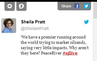 2014 01 29 screen grab edm journal sheila pratt twitter on baytex hearing in peace river