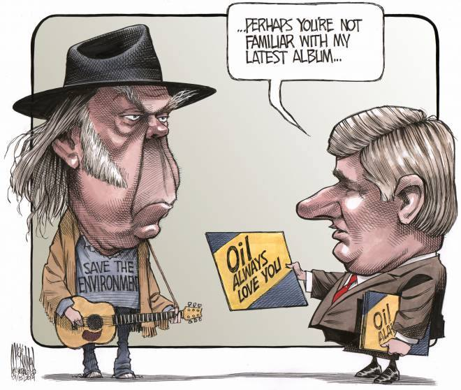 2014 01 Niel Young conert tour to fund raise for legal fees for First Nations lawsuit against unmitigated tarsands impacts Oil always love you by Harper