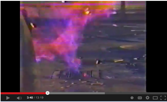 1985 Ross Dress for Less Explodes Youtube snap 3 Flaming industrys leaking methane up manhole