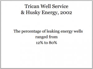2002 Trican Husky 12 to 80 per cent energy wells leaking in their study Slide from Ernst Presentations