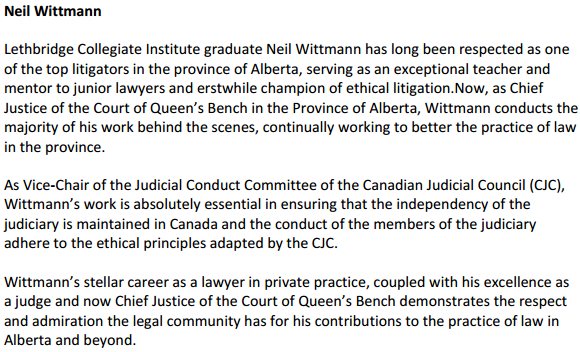 2013 03 05 University of Lethbridge gives Justice Neil Wittmann honourary degree