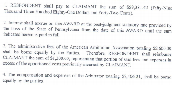 2014 01 22 Arbitration Award JT Place & Chesapeake 60,000 less half costs