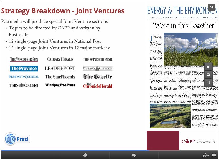 2014 02 05 Screen capture Oil and Gas industry & CAPPs list Canadian Media controlled