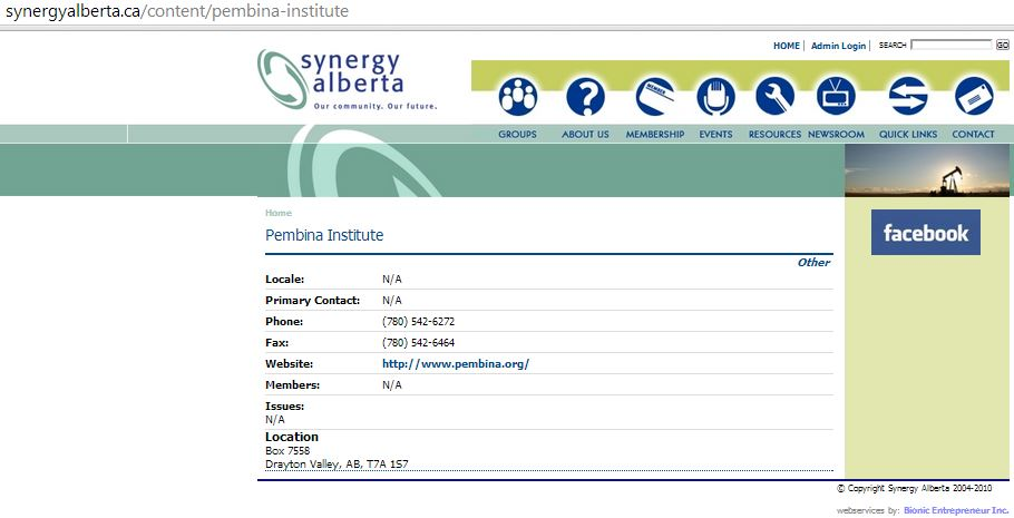 2014 02 08 Screen grab Pembina Institute Synergy Alberta Group