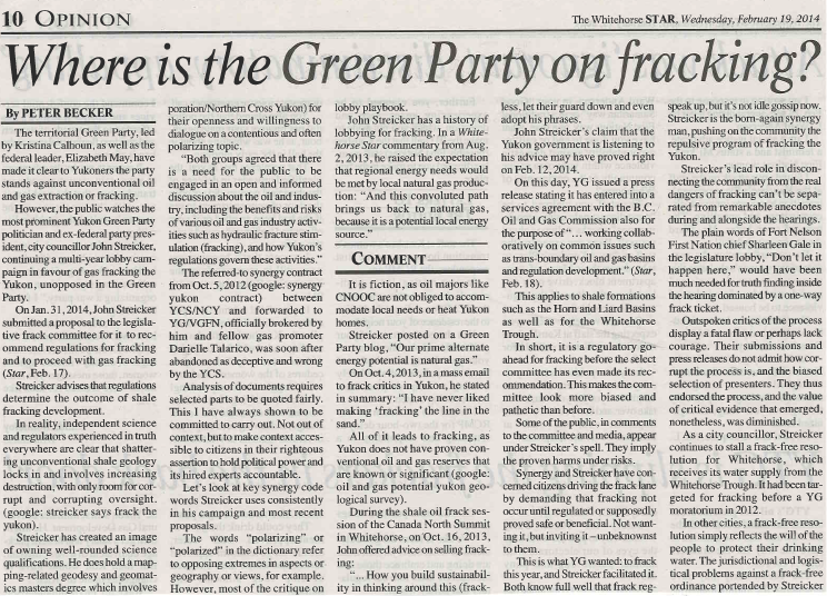2014 02 19 Where is the Green Party on Fracking by Peter Becker snap pg1