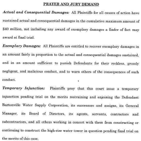 2014 02 20 rex tillerson et al v bartonville water tower Prayer and Jury Demand