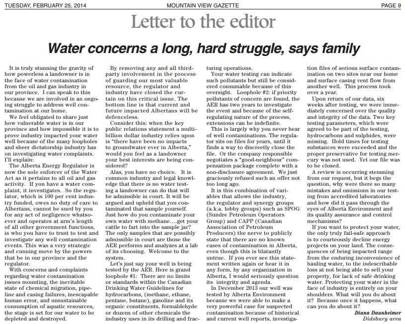 2014 02 25 Water concerns a long hard struggle says Daunheimers