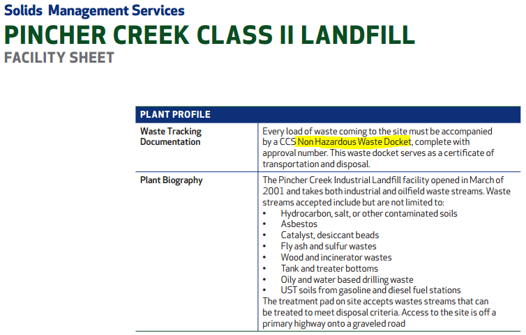 2014 02 25 screen grab pincher creek class II landfill does not accept hazardous waste w hilite