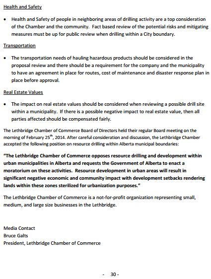 2014 02 26 Lethbridge Chamber of Commerce NewsReleaseOpposesUrbanDrilling snap pg 2