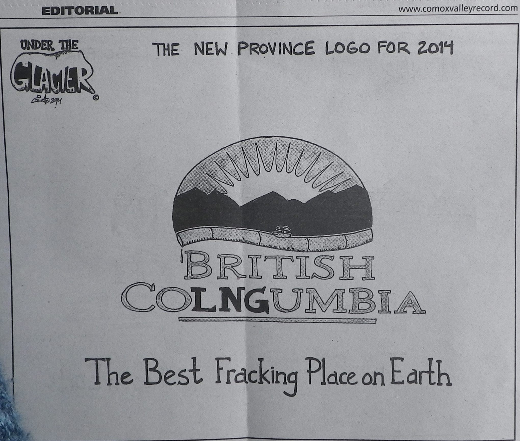 2014 02 27 BC The Best Fracking Place on Earth British Colngumbia cartoon comox valley record