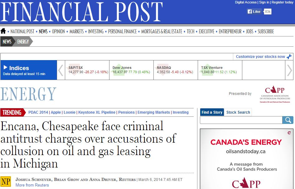 2014 03 06 Encana Chesapeake face criminal antitrust charges collusion on oil gas leasing in Michigan headline snap