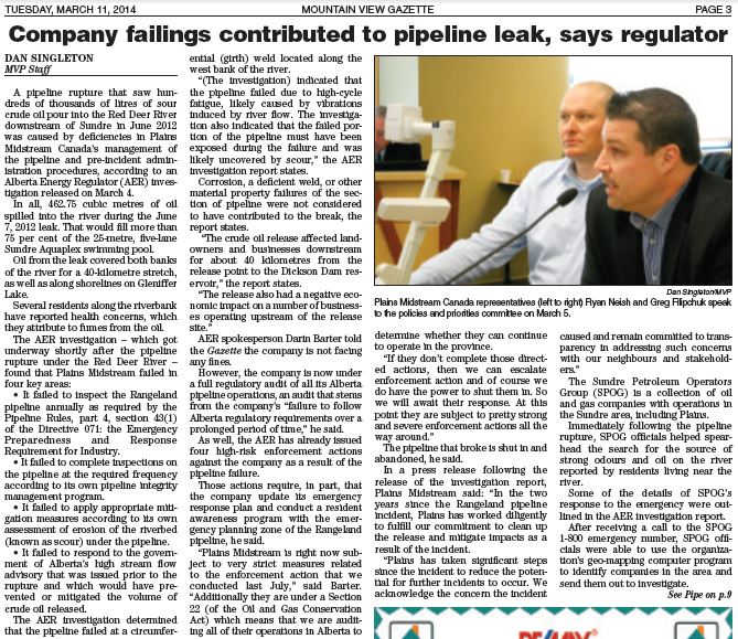 2014 03 11 Plains Midstream Sour Oil Spill Investigation Report released by AER pg 1
