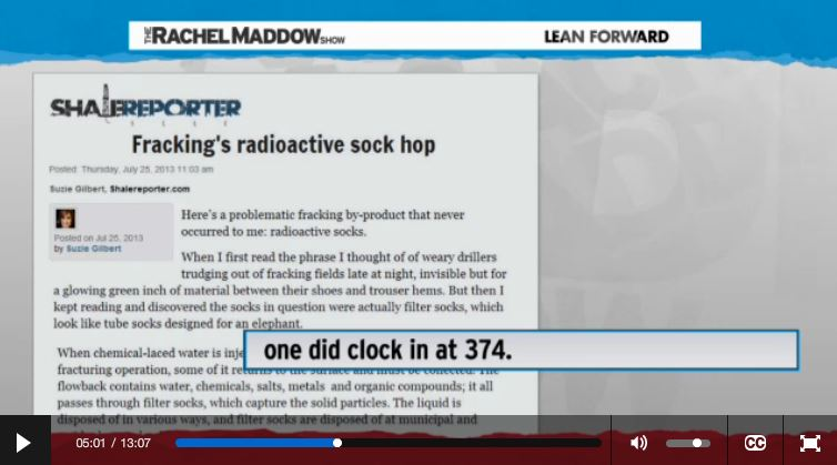 2014 03 14 Radioactive waste illegally dumped in North Dakota Rachel Maddow show Frackings Radioactive Sock Hop one came in at 374 picocuries