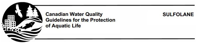 2014 03 15 Canadian Water Quality Guidelines Protection Aquatic Life Sulfolane